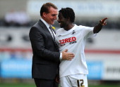Swansea player Nathan Dyer shares a joke with Swansea manager Brendan Rodgers during the npower Championship match between Swansea City and Ipswich...