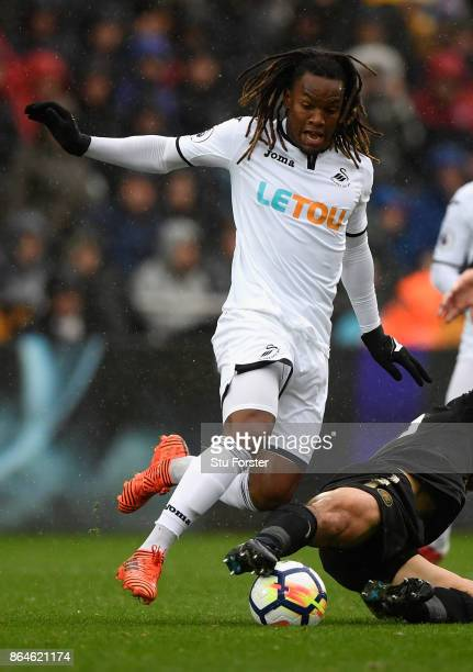 Swansea player Renato Sanches in action during the Premier League match between Swansea City and Leicester City at Liberty Stadium on October 21 2017...