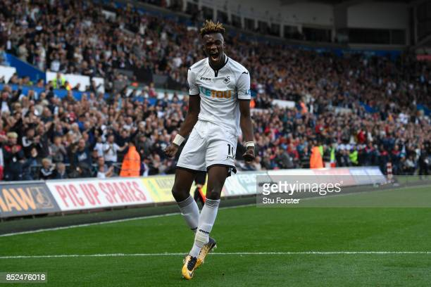 Swansea player Tammy Abraham celebrates his goal during the Premier League match between Swansea City and Watford at Liberty Stadium on September 23...