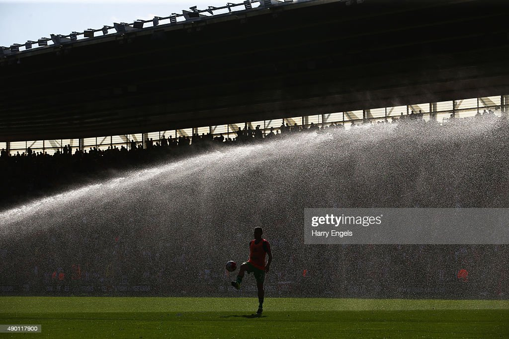 A Swansea player warm up at the half time during the Barclays Premier League match between Southampton and Swansea City at St Mary's Stadium on September 26, 2015 in Southampton, United Kingdom.