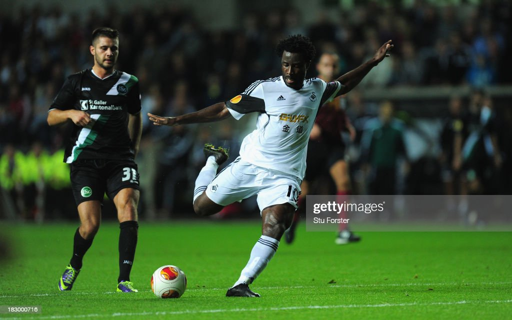 Swansea player <a gi-track='captionPersonalityLinkClicked' href=/galleries/search?phrase=Wilfried+Bony&family=editorial&specificpeople=4231248 ng-click='$event.stopPropagation()'>Wilfried Bony</a> gets in a shot at goal during the UEFA Europa League match between Swansea City and FC St Gallen at Liberty Stadium on October 3, 2013 in Swansea, Wales.