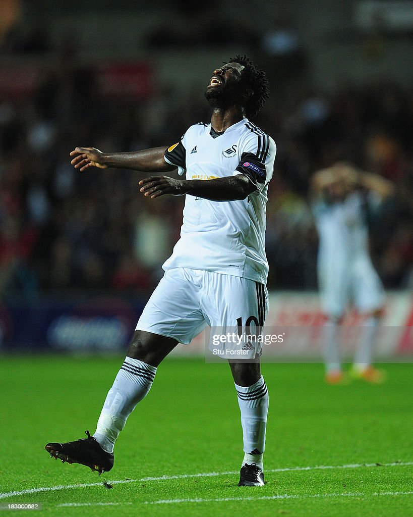 Swansea player <a gi-track='captionPersonalityLinkClicked' href=/galleries/search?phrase=Wilfried+Bony&family=editorial&specificpeople=4231248 ng-click='$event.stopPropagation()'>Wilfried Bony</a> reacts after a near miss during the UEFA Europa League match between Swansea City and FC St Gallen at Liberty Stadium on October 3, 2013 in Swansea, Wales.