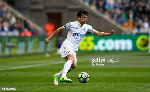 Swansea playuer Jack Cork in action during the Premier League match between Swansea City and Middlesbrough at Liberty Stadium on April 2 2017 in...