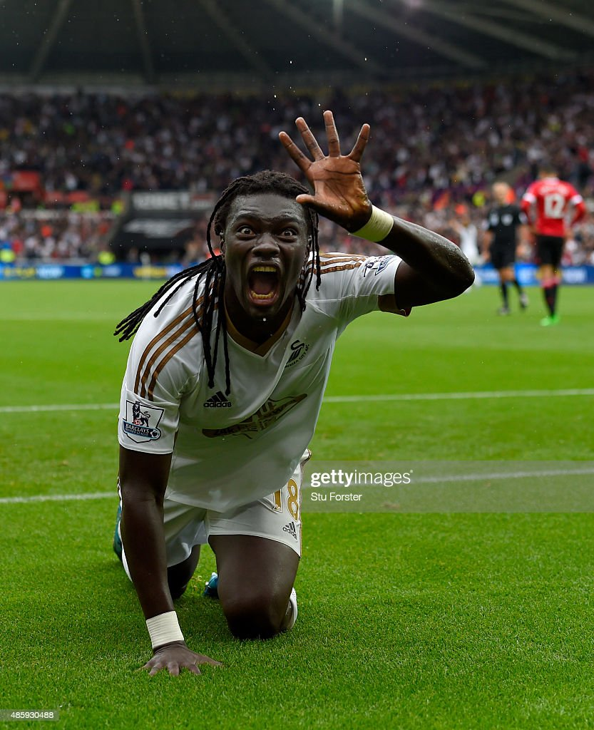 Swansea striker <a gi-track='captionPersonalityLinkClicked' href=/galleries/search?phrase=Bafetimbi+Gomis&family=editorial&specificpeople=686005 ng-click='$event.stopPropagation()'>Bafetimbi Gomis</a> celebrates after scoring the second swansea goal during the Barclays Premier League match between Swansea City and Manchester United on August 30, 2015 in Swansea, United Kingdom.