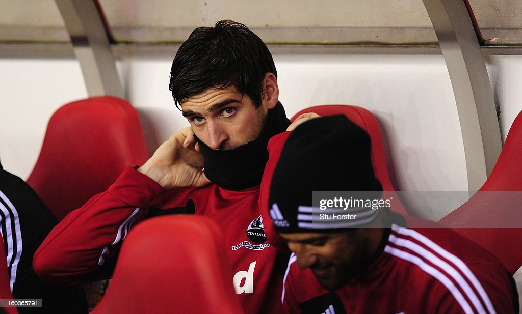 Swansea striker Danny Graham (l) and Wayne Routledge look on before the Barclays Premier League match between Sunderland and Swansea City at Stadium of Light on January 29, 2013 in Sunderland, England.