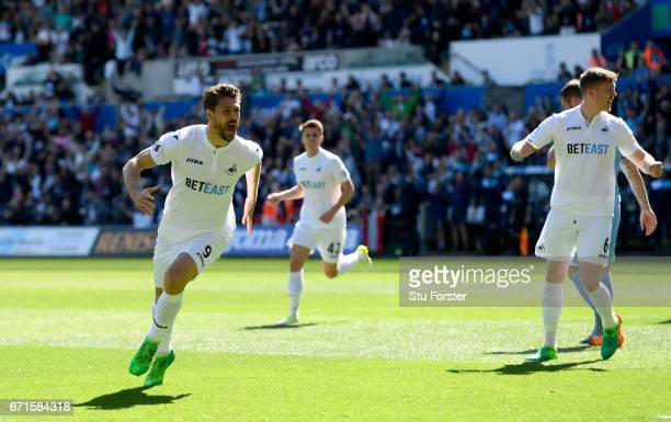 Swansea striker Fernando Llorente celebrates scoring the first goal during the Premier League match between Swansea City and Stoke City at Liberty...