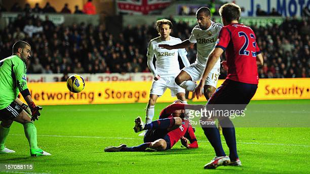 Swansea striker Wayne Routledge scores the second Swansea goal during the Barclays Premier League match between Swansea City and West Bromwich Albion...