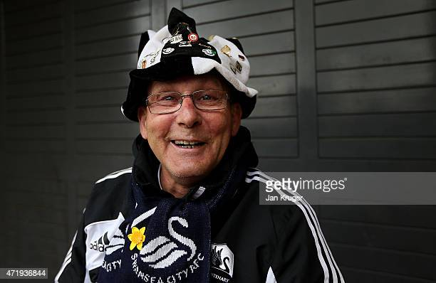Swansea supporter poses ahead of the Barclays Premier League match between Swansea City and Stoke City at Liberty Stadium on May 2 2015 in Swansea...