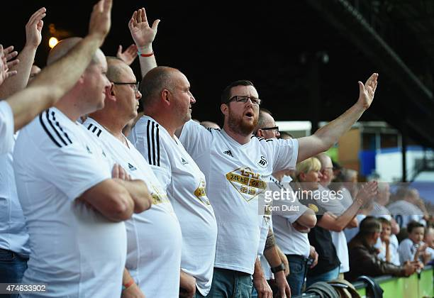 Swansea supporters cheer during the Barclays Premier League match between Crystal Palace and Swansea City at Selhurst Park on May 24 2015 in London...