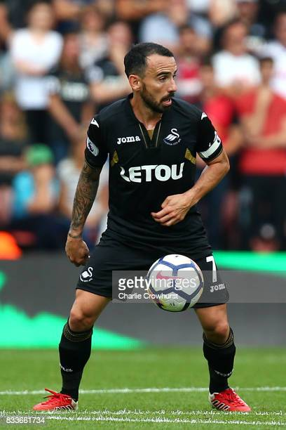Swansea's Leon Britton during the Premier League match between Southampton and Swansea City at St Mary's Stadium on August 12 2017 in Southampton...