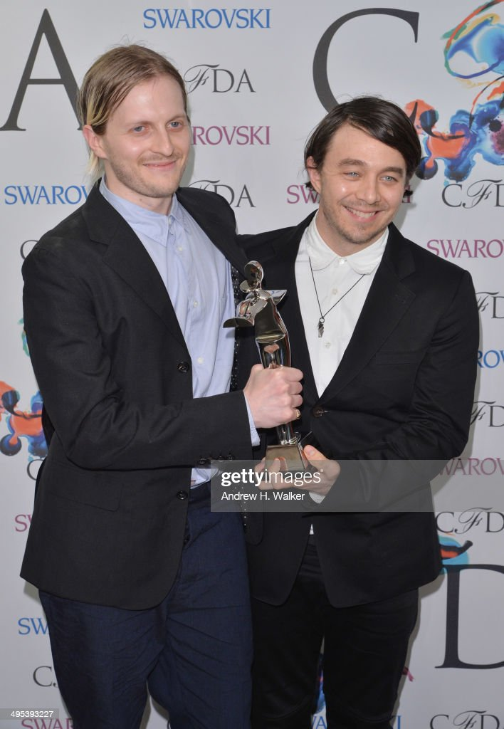 Swarovski Award for Womenswear award recipients <a gi-track='captionPersonalityLinkClicked' href=/galleries/search?phrase=Shane+Gabier&family=editorial&specificpeople=7504972 ng-click='$event.stopPropagation()'>Shane Gabier</a> and Christopher Peters of Creatures of the Wind attend the winners walk during the 2014 CFDA fashion awards at Alice Tully Hall, Lincoln Center on June 2, 2014 in New York City.