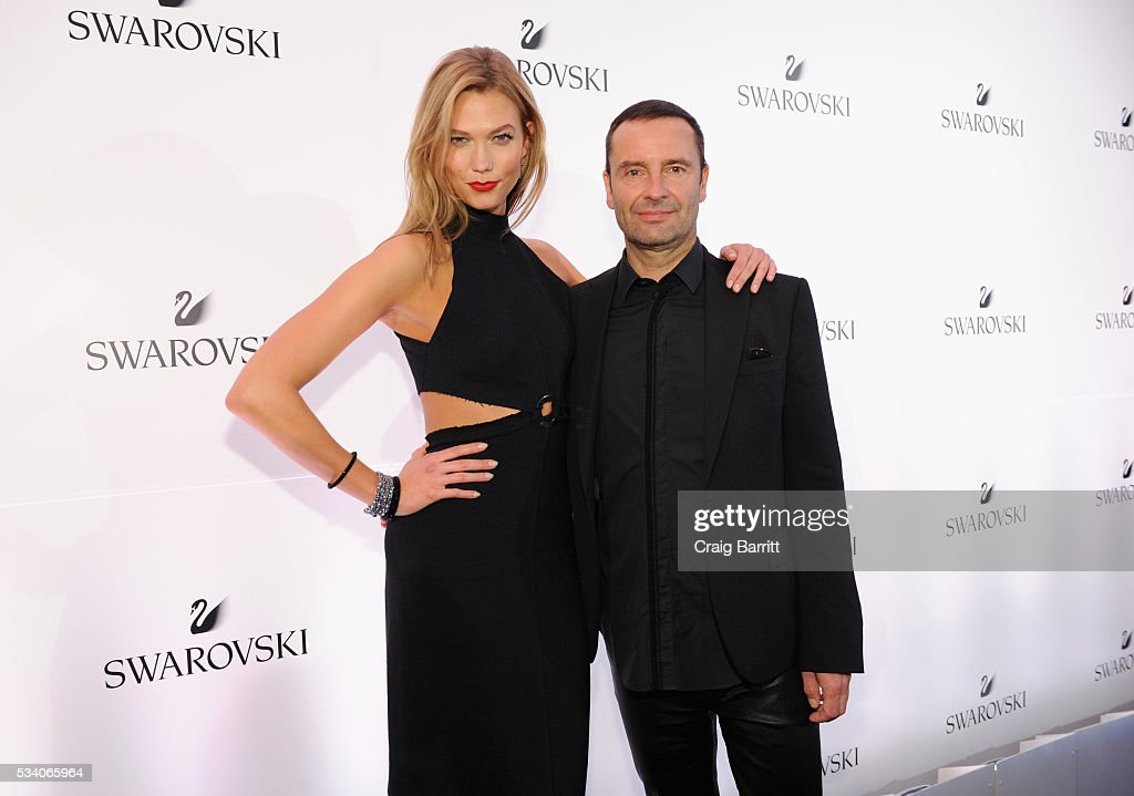 Swarovski brand ambassador <a gi-track='captionPersonalityLinkClicked' href=/galleries/search?phrase=Karlie+Kloss&family=editorial&specificpeople=5555876 ng-click='$event.stopPropagation()'>Karlie Kloss</a> and Swarovski CEO Robert Buchbauer attend Swarovski #bebrilliant at The Weather Room at the Top of the Rock on May 24, 2016 in New York City.