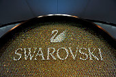 Swarovski logo is displayed during Baselworld on March 16 2016 in Basel Switzerland Held annually Baselworld is the most important watch and...