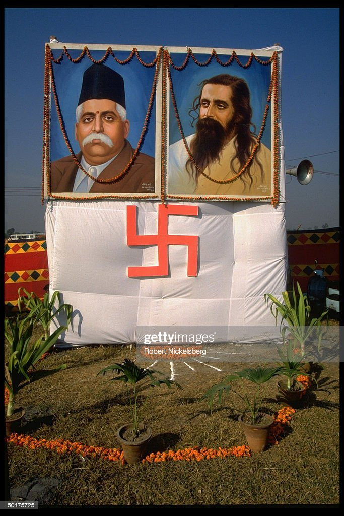 swastika banner amp portrait of hindu nationalist rashtriya
