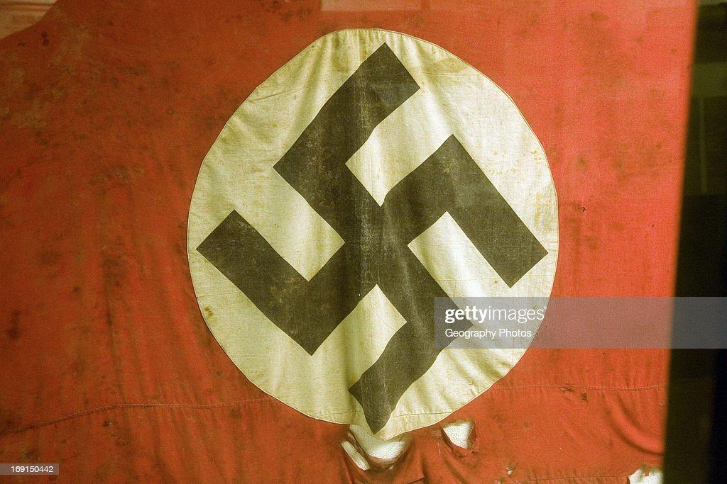 Swastika flag, German Underground Military hospital, Guernsey, Channel Islands, UK.