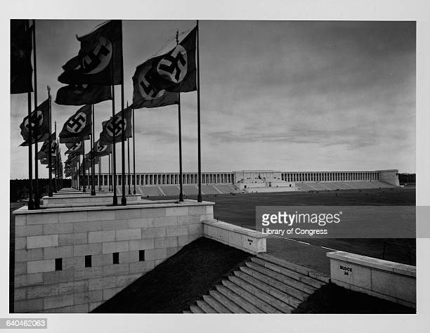 Swastikas fly over the large Zeppelinfeld in Nuremberg Germany