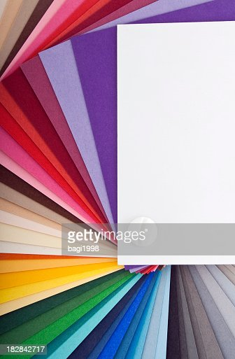 Swatch card fanned out to show spectrum of colors