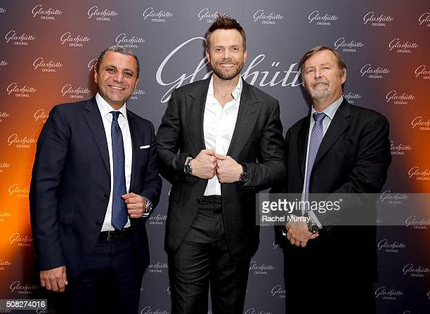 Swatch Group US country manager Hazem Sbayteh actor Joel McHale and Glashutte CEO Yann Gamard attend the Glashutte Original celebrates the launch of...