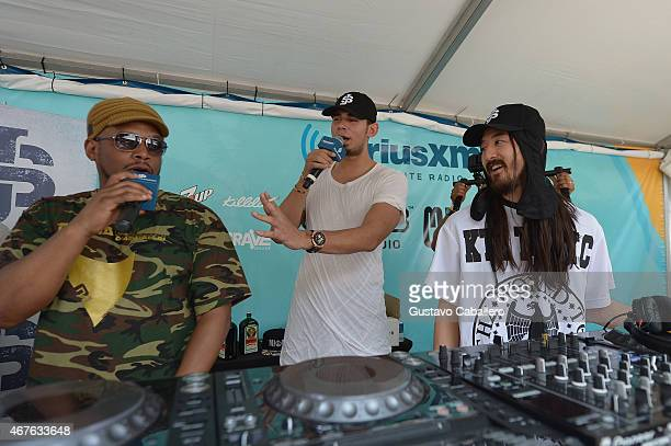 Sway Calloway Afrojack and Steve Aoki on SwayJack Radio hosted by Sway Calloway and Afrojack Live From The SiriusXM Music Lounge at W Hotel on March...