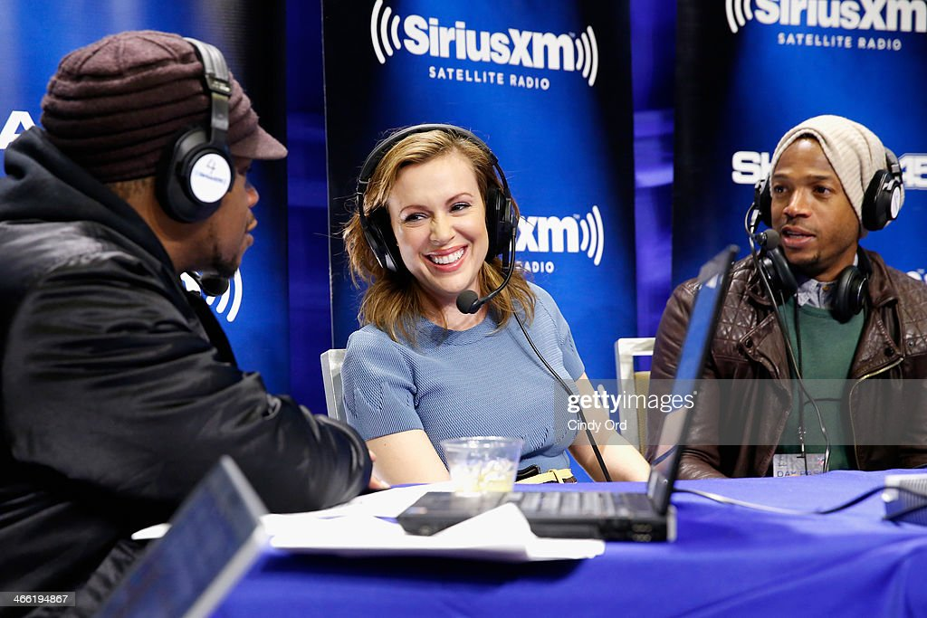Sway Calloway, Alyssa Milano and Marlon Wayans attend SiriusXM's Shade 45 at Super Bowl XLVIII Radio Row on January 31, 2014 in New York City.