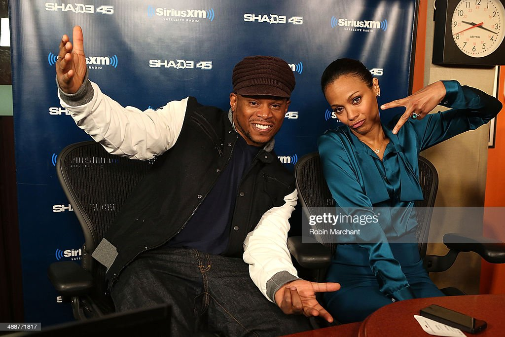 <a gi-track='captionPersonalityLinkClicked' href=/galleries/search?phrase=Sway+Calloway&family=editorial&specificpeople=214641 ng-click='$event.stopPropagation()'>Sway Calloway</a> (L) and Actress <a gi-track='captionPersonalityLinkClicked' href=/galleries/search?phrase=Zoe+Saldana&family=editorial&specificpeople=542691 ng-click='$event.stopPropagation()'>Zoe Saldana</a> during 'Sway in the Morning' on Eminem's Shade 45 at SiriusXM Studios on May 8, 2014 in New York City.