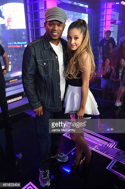 Sway Calloway and Ariana Grande attend MTV's 'Total Ariana Live' at MTV Studios on July 2 2014 in New York City
