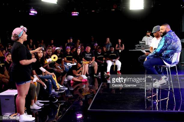 Sway Calloway and DJ Khaled attend a Get Schooled event at MTV in the Viacom Building on June 13 2017 in New York City