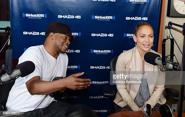 Sway Calloway and Jennifer Lopez during 'Sway in the Morning' on Eminem's Shade 45 at SiriusXM Studios on May 13 2014 in New York City