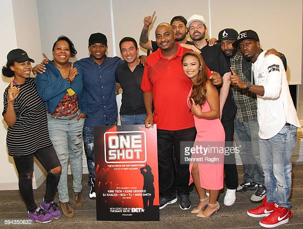 Sway Calloway and Mike Smith pose for a picture with the Sway in the Morning Radio crew during BET's ONE SHOT exclusive screening at Sky Lounge on...