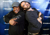 Sway Calloway and Russell Brand pose for a photo at SiriusXM Studios on October 14 2014 in New York City
