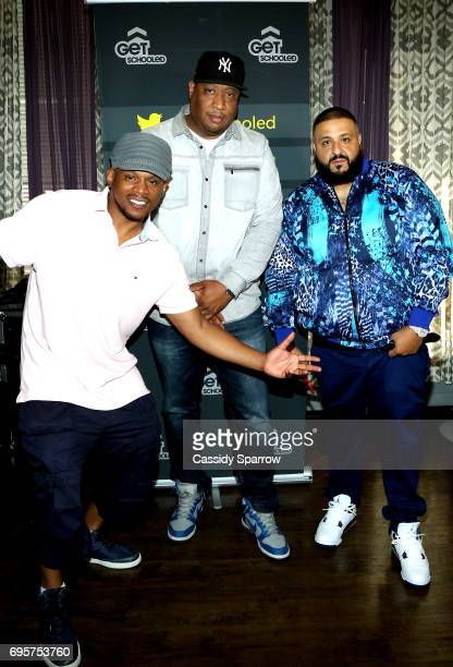 Sway Calloway DJ Dallas Green and DJ Khaled attend a Get Schooled event at MTV in the Viacom Building on June 13 2017 in New York City