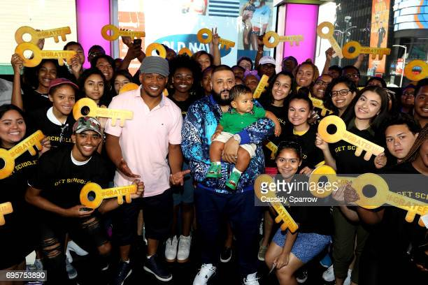 Sway Calloway DJ Khaled and Asahd Tuck Khaled attend a Get Schooled event at MTV in the Viacom Building on June 13 2017 in New York City