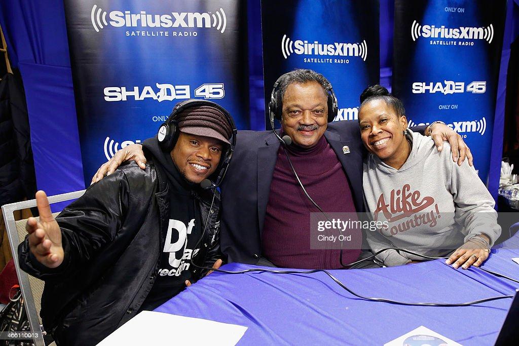 Sway Calloway, Jesse Jackson and Heather B attend SiriusXM At Super Bowl XLVIII Radio Row on January 31, 2014 in New York City.