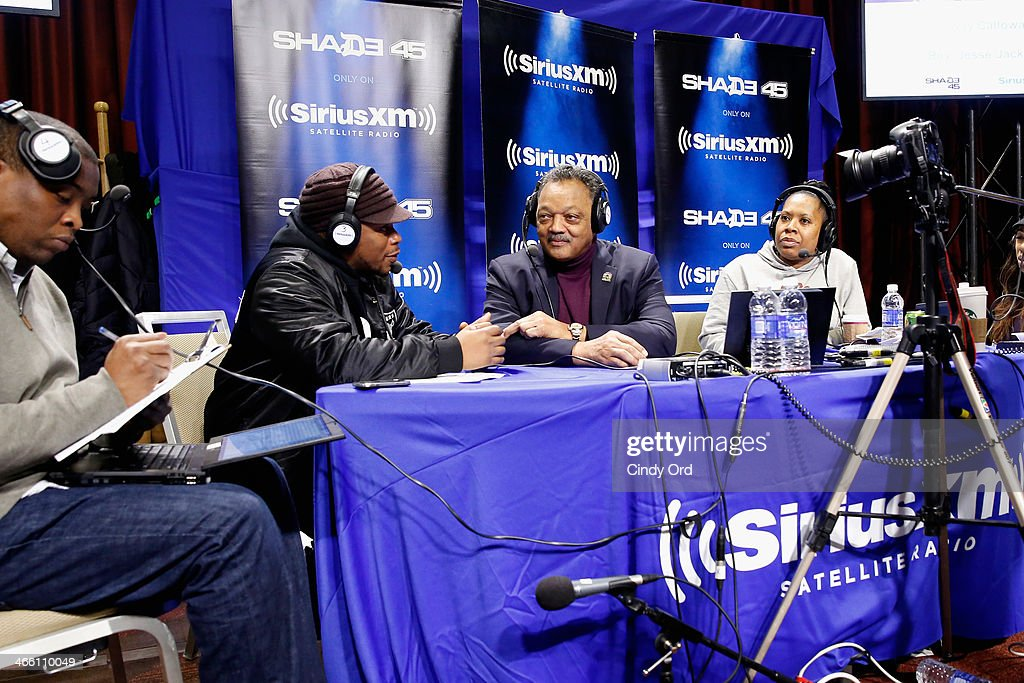 Sway Calloway, Jesse Jackson and Heather B attend SiriusXM At Super Bowl XLVIII Radio Row on January 31, 2014 in New York City.