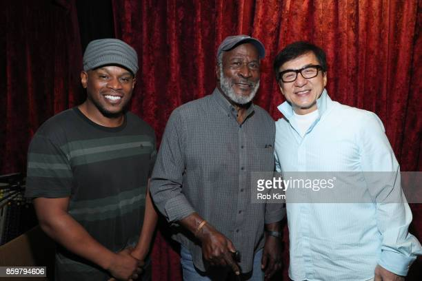 Sway Calloway John Amos and Jackie Chan pose together for a photo at SiriusXM Studios on October 10 2017 in New York City