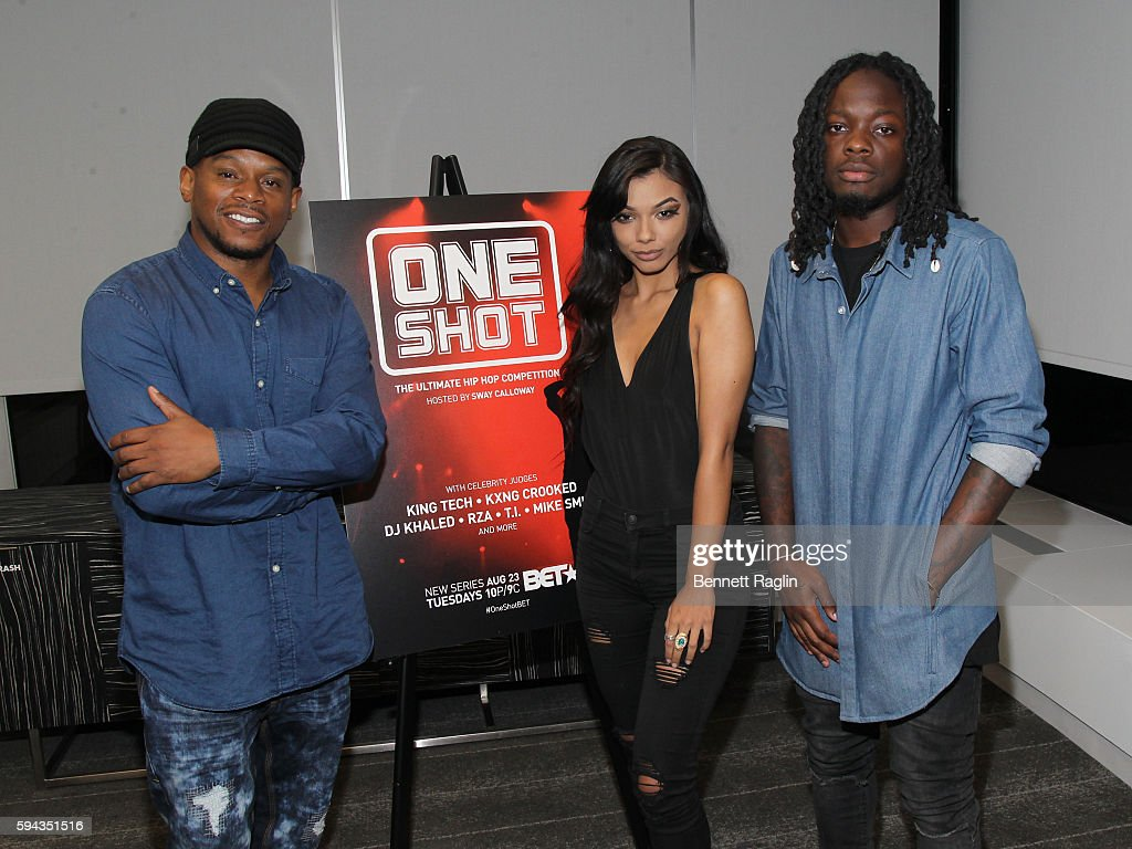 Sway Calloway Lexx Sequoia and Oswin Benjamin attend BET's ONE SHOT exclusive screening at Sky Lounge on August 22 2016 in New York City