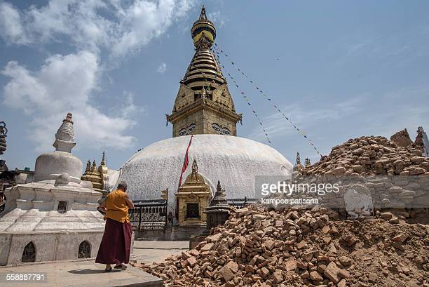 Swayambhunath damaged after the major earthquake