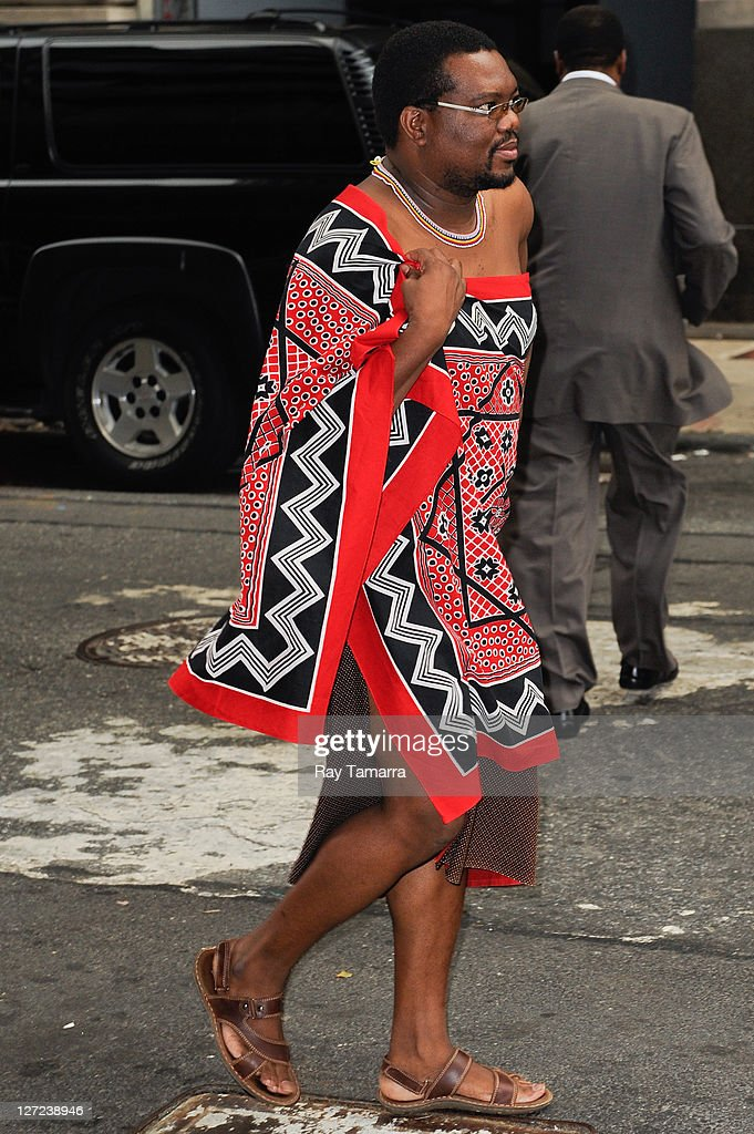 Swaziland <a gi-track='captionPersonalityLinkClicked' href=/galleries/search?phrase=King+Mswati+III&family=editorial&specificpeople=558940 ng-click='$event.stopPropagation()'>King Mswati III</a> leaves his Midtown Manhattan hotel on September 26, 2011 in New York City.
