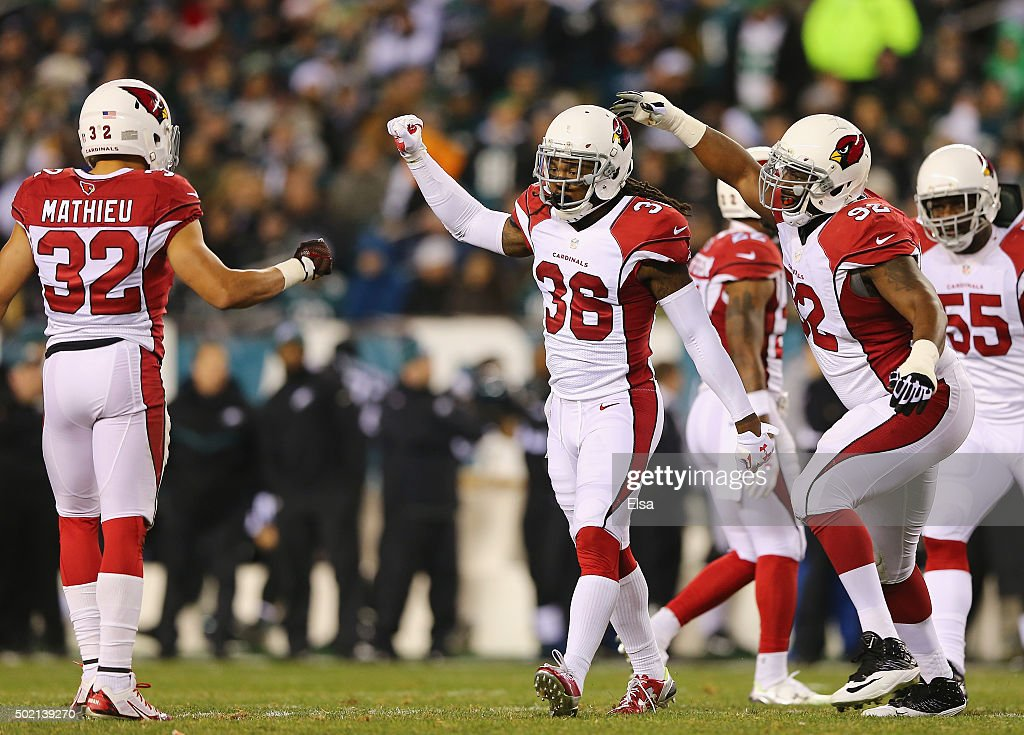 J Swearinger of the Arizona Cardinals celebrates his stop of Ryan Mathews of the Philadelphia Eagles preventing a first down for the Eagles in the...