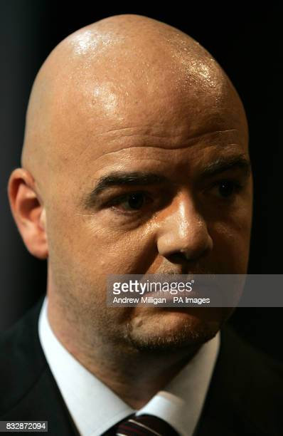 Sweat Beads on the head of Gianni Infantino acting UEFA Chief Executive during the UEFA Cup Handover and Final Phase Draw held at the historic Old...