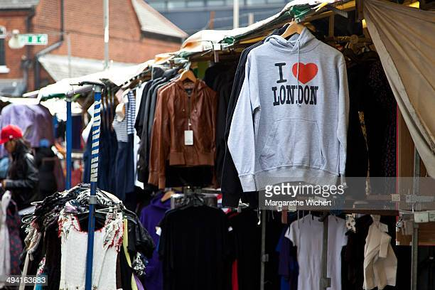 A sweater with the print 'I love London' is for sale on Camden Market on May 26 2010 in London United Kingdom