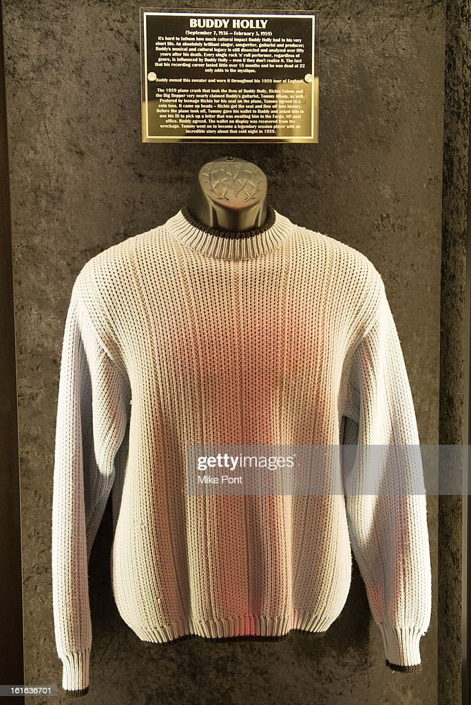 Sweater worn by Buddy Holly on display at Hard Rock's 'Gone Too Soon' and 'Music Gives Back' Media Preview Day at Hard Rock Cafe New York on February 13, 2013 in New York City.
