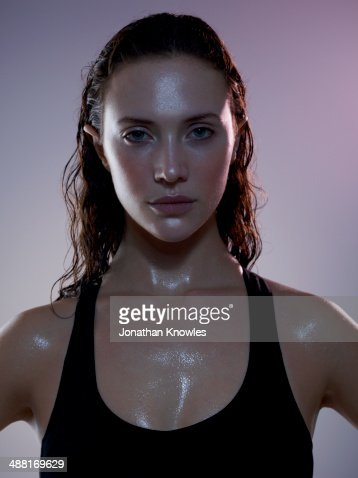 Sweaty female post workout