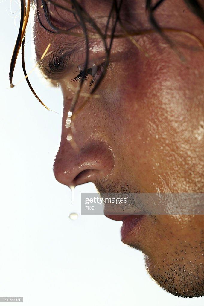 Sweaty soccer player : Stock Photo