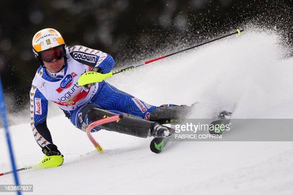 Swede Mattias Hargin competes during the Men Slalom race at the Alpine ski World Cup finals on March 17 2013 in Lenzerheide AFP PHOTO / FABRICE...