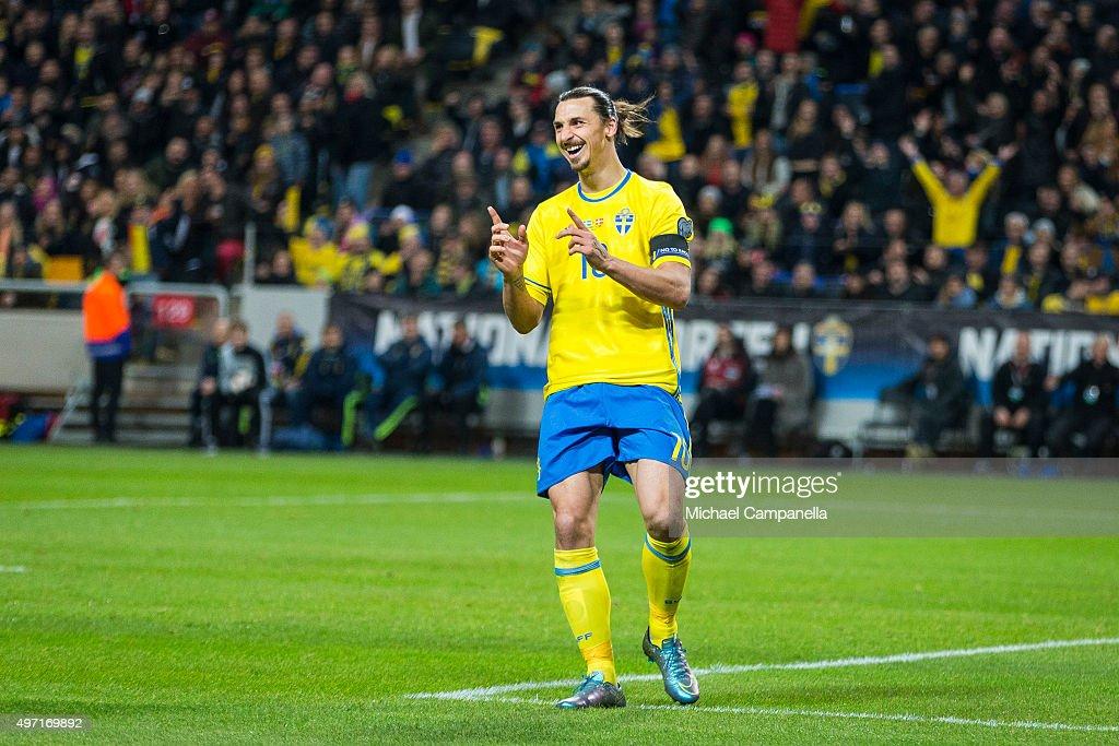 Sweden 10 Zlatan Ibrahimovic durring a European Qualifier PlayOff between Sweden and Denmark on November 14 2015 in Solna Sweden