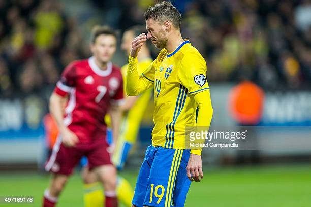 Sweden 19 Marcus Berg dejected after a missed chance on goal durring a European Qualifier PlayOff between Sweden and Denmark on November 14 2015 in...