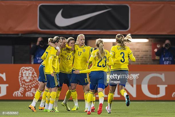 Sweden celebrate the goal of Olivia Schough of Sweden during the 2016 UEFA Women's Olympic Qualifying Tournament match between Netherlands and Sweden...