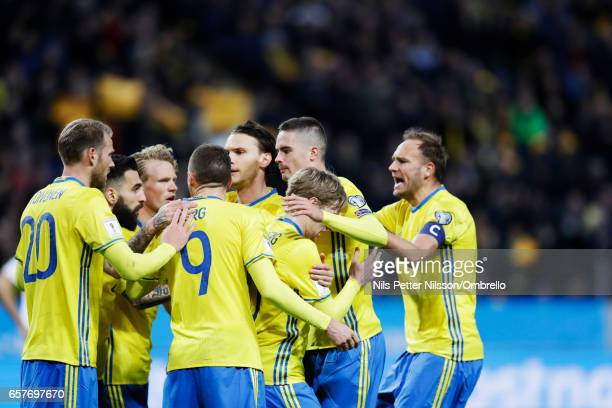 Sweden celebrates after Emil Forsberg scored 10 during the FIFA 2018 World Cup Qualifier between Sweden and Belarus at Friends arena on March 25 2017...
