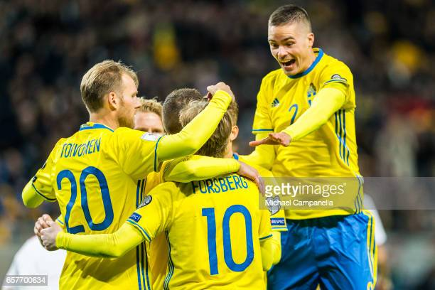 Sweden celebrates the 20 goal during the FIFA 2018 World Cup Qualifier between Sweden and Belarus at Friends arena on March 25 2017 in Solna Sweden